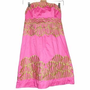 LILLY PULITZER Shell Embroidered Strapless Dress 2